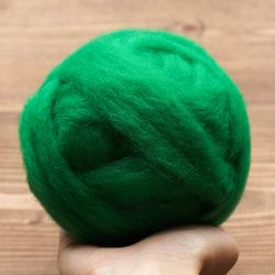 Wool Roving Needle Felting Supply, Kelly Green, Christmas Green, Domestic Wool, Wet Felting, Spinning, Felting Wool, Vibrant Green